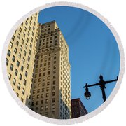 Round Beach Towel featuring the photograph Philadelphia Urban Landscape - 0948 by David Sutton