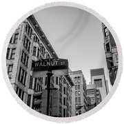 Round Beach Towel featuring the photograph Philadelphia Urban Landscape - 0980 by David Sutton