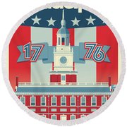 Philadelphia Poster - Independence Hall Round Beach Towel
