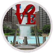 Philadelphia's Love Park Round Beach Towel