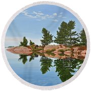 Round Beach Towel featuring the painting Philip Edward Island by Kenneth M Kirsch