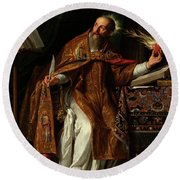 Round Beach Towel featuring the painting Philippe De Champaigne by Saint Augustine