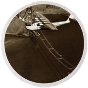 Philippine Clipper A Pan Am Clipper Over The Golden Gate Bridge  1935 Round Beach Towel