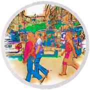 Philippine Girls Crossing Street Round Beach Towel