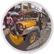 Philippines 1261 Jeepney Round Beach Towel