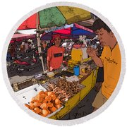 Philippines 1299 Street Food Round Beach Towel