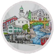 Phillips, Maine Collage Round Beach Towel