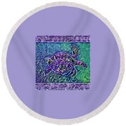 Phillis The Turtle Round Beach Towel by Erika Swartzkopf