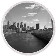 Philly B/w Round Beach Towel