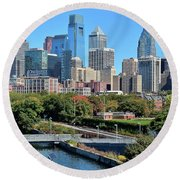 Philly Community Riverwalk Round Beach Towel by Frozen in Time Fine Art Photography