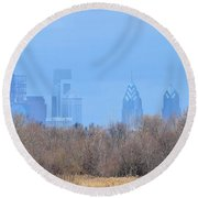 Philly From Afar Round Beach Towel