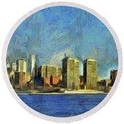 Philly Skyline Round Beach Towel by Trish Tritz