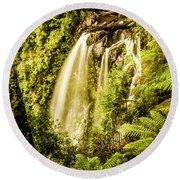 Philosopher Falls, Western Tasmania Round Beach Towel