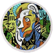 Round Beach Towel featuring the digital art Philosopher by Sotuland Art