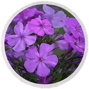 Phlox Round Beach Towel