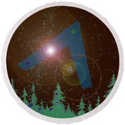 Round Beach Towel featuring the painting Phoenix Lights Ufo by James Williamson
