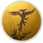 Round Beach Towel featuring the drawing Phoenix by Michelle Dallocchio