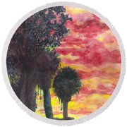 Phoenix Sunset Round Beach Towel by Eric Samuelson