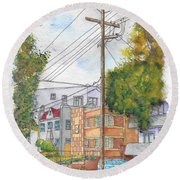 Phole Pole In Hawthorn And Fuller, Hollywood, California Round Beach Towel by Carlos G Groppa