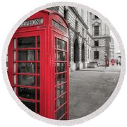 Round Beach Towel featuring the photograph Phone Booths In London by James Udall