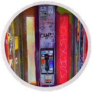 Phone Graffiti Series 5 Round Beach Towel