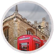 Round Beach Towel featuring the photograph Phone Home - Gt St Marys Church Cambridge by Gill Billington