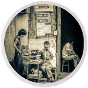 Round Beach Towel featuring the photograph Phonecall On Chinese Street by Heiko Koehrer-Wagner