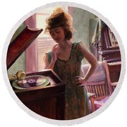 Phonograph Days Round Beach Towel