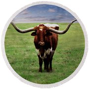 Photo Texas Longhorn A010816 Round Beach Towel