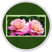 Round Beach Towel featuring the photograph Photogenic Peace Roses by Will Borden