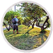 Round Beach Towel featuring the photograph Photographer by Brian Wallace