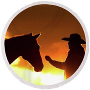 Cowgirl Sunset Sihouette Round Beach Towel
