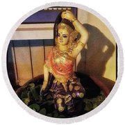 Round Beach Towel featuring the photograph Phra Mae Thorani. Holy Mother Of Earth by Mr Photojimsf