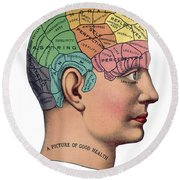 Phrenological Chart Round Beach Towel
