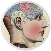 Phrenology Chart Round Beach Towel