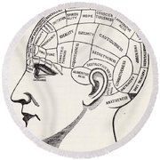 Phrenology Round Beach Towel