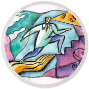 Round Beach Towel featuring the painting Physician And Money by Leon Zernitsky