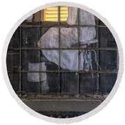 Physician In The Window Round Beach Towel