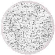 Round Beach Towel featuring the drawing Physics Forms by Gina Dsgn