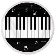 Piano And Music Background Round Beach Towel
