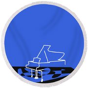 Piano In Blue Round Beach Towel by David Bridburg