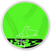 Piano In Green Round Beach Towel by David Bridburg