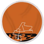 Piano In Orange Round Beach Towel by David Bridburg