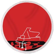 Piano In Red Round Beach Towel by David Bridburg