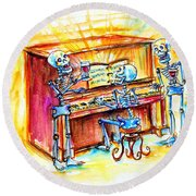 Piano Man Round Beach Towel by Heather Calderon