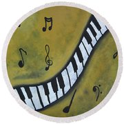 Piano Music Abstract Art By Saribelle Round Beach Towel