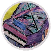 Piano Pink Round Beach Towel