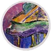 Piano Purple - Cropped Round Beach Towel