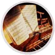 Piano Sheet Music Round Beach Towel