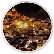 Piazza Armerina At Night Round Beach Towel